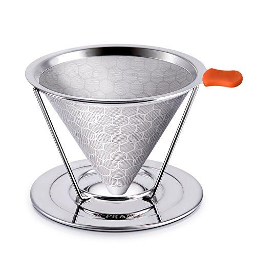 E-PRANCE コーヒードリッパー ステンレスフィルター 蜂窩状 2層メッシュ ペーパーフィルター不要 1~4杯用 (改良版)