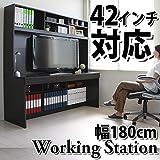 送料無料 パソコンデスク システムデスク オフィスデスク 書斎 180cm幅 大型デスク CPB043DBR