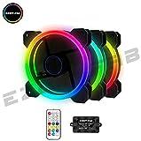 Best ケースファン - EASYDIY 120mmPCケースファンLEDリング搭載 静音タイプ 25mm厚 1300rpm 3本1セット (RGB-虹色) Review