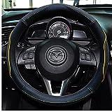 autoinbox ハンドルカバー 自動車 ステアリングカバー 高品質レザーハンドルカバー 取り付け簡単 汚れ 滑り防止 カーアクセサリー ハンドル直径対応サイズ36.5~37.9cm 普通車 ミニバン用 (ワゴンR ムーブ フィット ステップワゴンなど) (オレンジ)