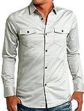 インプローブス シャツ ストレッチ ツイル スリムシャツ メンズ グレー Lサイズ