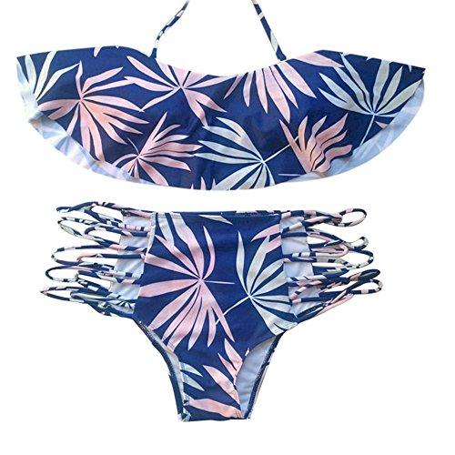 [해외](선 버스트) 수영복 원피스 레이디 잎 인쇄 비키니 분할 수영복 상하 높은 허리 스트랩 개봉 섹시 2018 년 인기/(Sunburst) Swimsuit One Piece Lady Leaf Printing Bikini Split Swimwear Top and Bottom High West Strap Open Sexy Popular in 201...