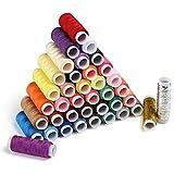 LIHAO 手縫い系 100%ポリエステル素材常備糸 ソーイング糸 39色セット 裁縫 手芸 刺繍用糸 約200メートル