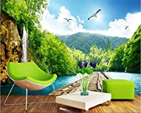 Mbwlkj 滝風景美しいリゾート太陽の背景壁画高品質絹織物3D壁紙壁紙-350cmx245cm