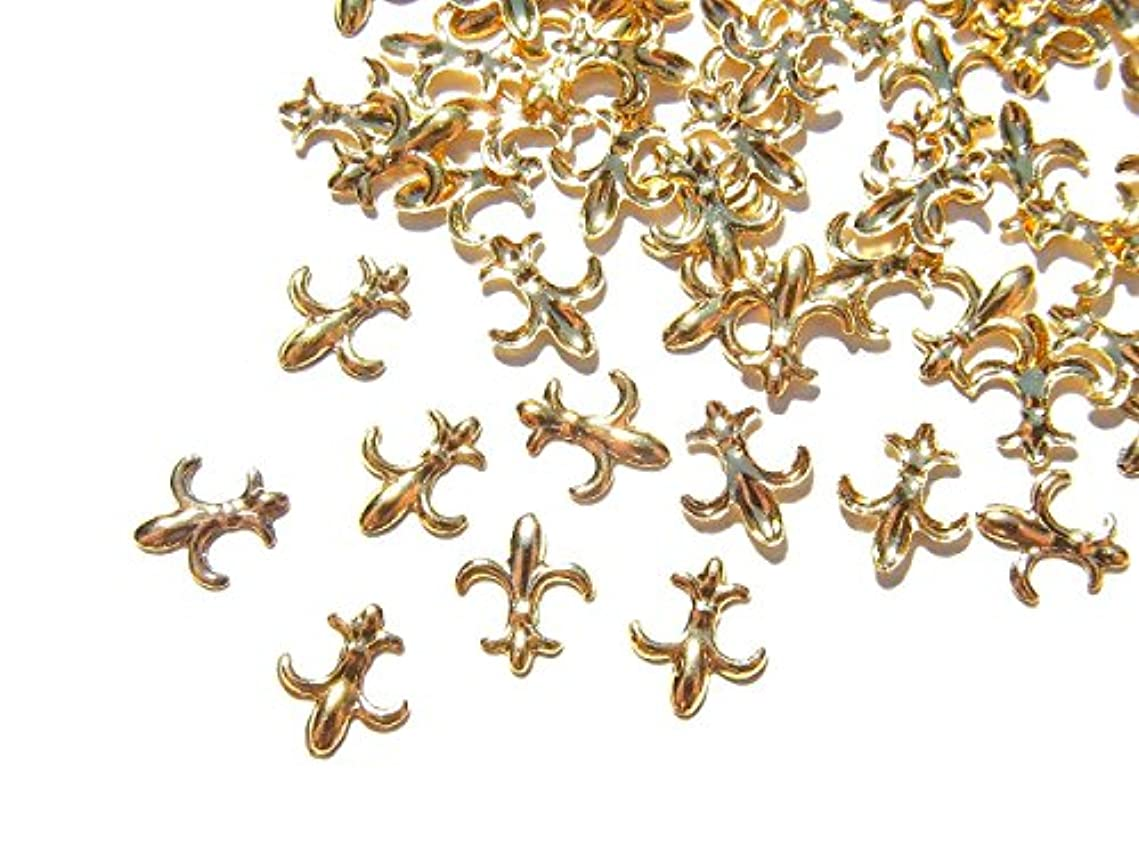 フリッパー差別の【jewel】ゴールド メタルパーツ フレア 10個入り 6mm×5mm 手芸 材料 レジン ネイルアート パーツ 素材