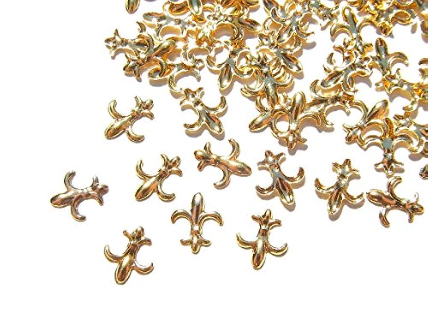 アルミニウムがっかりした気を散らす【jewel】ゴールド メタルパーツ フレア 10個入り 6mm×5mm 手芸 材料 レジン ネイルアート パーツ 素材