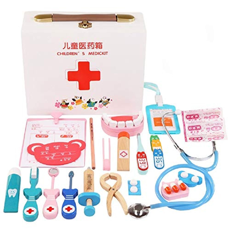 Zhenyu 木製玩具 子供用 おもしろおもちゃ お医者さんごっこセット シミュレーション薬箱 お医者さんのおもちゃ 聴診器注入 子供用ギフト