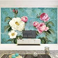 Ansyny ヨーロッパスタイル3Dステレオ花写真壁画壁紙リビングルームテレビソファ結婚式の家の背景壁画-260X175CM