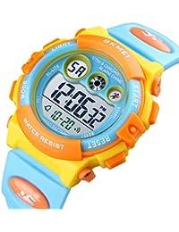 かわいい 腕時計 子供 LED デジタル ELライト ストップウォッチ アラーム 日付曜日 キッズ スポーツ 多機能ウォッチ シリコン バンド (ブルー イエロー)