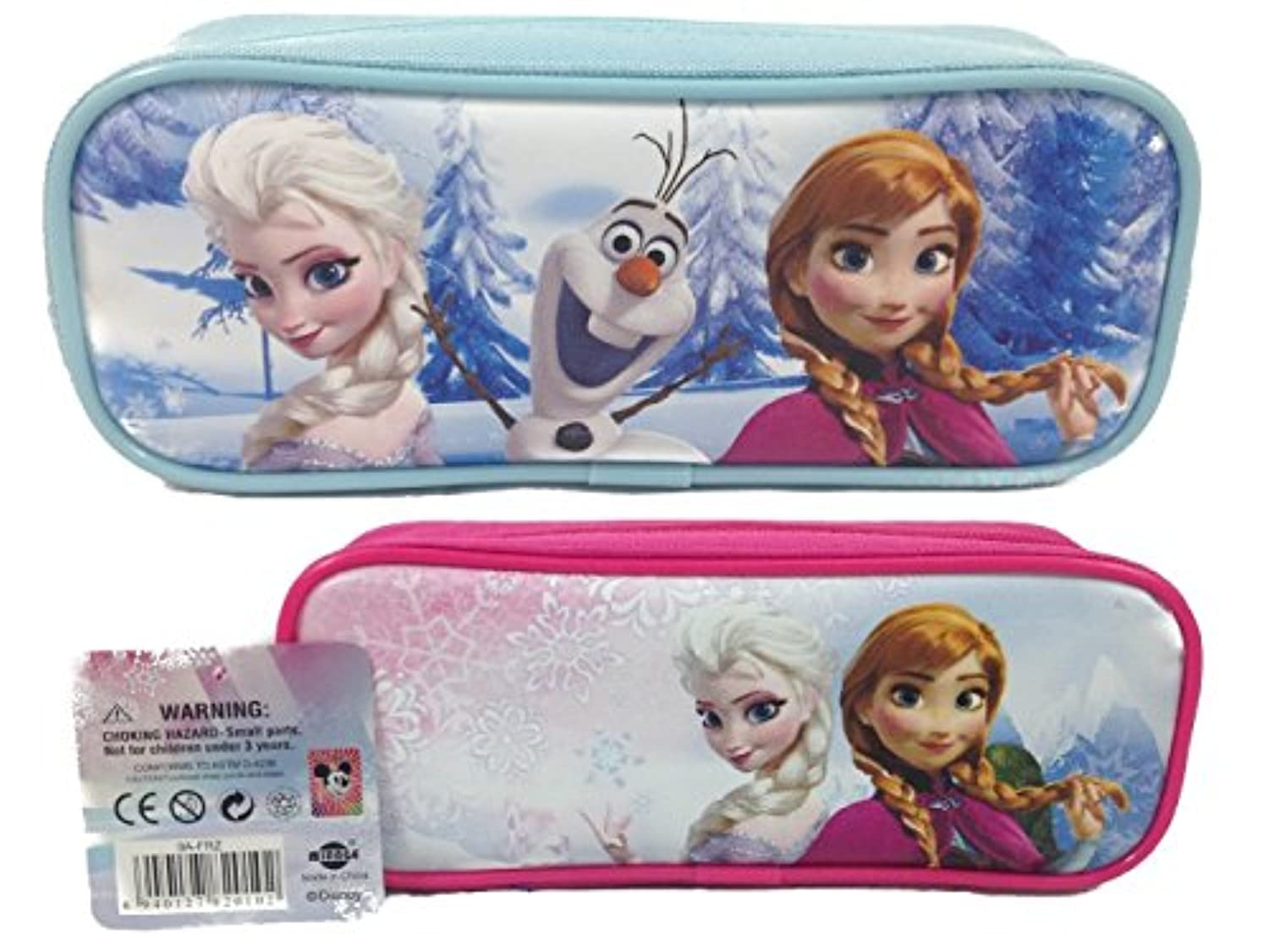 [5StarService]5StarService Frozen Elsa and Anna Single Zipper Pouch Pink and Blue Pencil Case, 2Pack [並行輸入品]