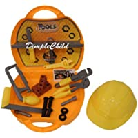 DimpleChild On-The-Go 23 Piece Deluxe Pretend and Play Tool Set with Assorted Wrenches, Bow Saw, Carrying Case, Hard Hat and More DC4933 by DimpleChild [並行輸入品]