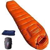 Fengzel Outdoor マミー型寝袋 足と手が出せる 210*80(50) cm ダウン率90% 400-2000g羽毛充填 キャンプ 自宅 防災用 ふっくら 極限耐寒 防寒着 ダウンシュラフ