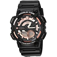 Casio Men's 'Telememo' Quartz Resin Casual Watch, Color:Black (Model: AEQ-110W-1A3V)