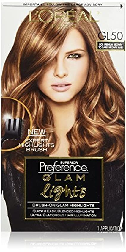 子音統計弱まるL'Oreal Paris Superior Preference Glam Lights Brush-On Glam Highlights, GL50 Medium Brown to Dark Brown [並行輸入品]