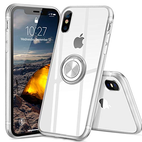 iPhoneX ケース iPhonexs ケース スマホリング カバー リング 透明 TPU クリア リング付き 回転リング アイフォンxs ケース アイフォンx ケース 磁気カーマウントホルダー スタンド 携帯ケース 耐衝撃 薄型 レンズ保護ト 耐久 一体型 防塵 (クリスタル・クリア)
