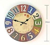 壁時計ミュートリビングルームラジオ付きアラーム寝室カラー印刷デジタル古いMdf装飾クラフト時計ホーム電子時計フレームレス塗装時計14インチ
