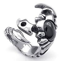 PW 高品質チタン&ステンレス サソリ指輪リンク@ 23171 シルバー(銀色) 【ラッピング対応】