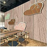 Xbwy 現代のカスタム3Dウッドパターンハートの壁紙3Dリビングルームカフェホームのための壁の壁画ロール紙の壁紙-350X250Cm