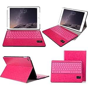 【F.G.S】ローズレッド iPad Air2 Bluetooth キーボード 良質PUレザーケース付き カバー ワイヤレスキーボード キーボード分離可能 F.G.S正規代理品