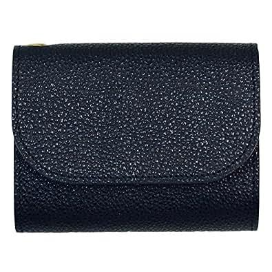 お札を折らないミニ財布 黒桟革 (黒) カード収納付 大きなコインポケット 高級レザー 本革