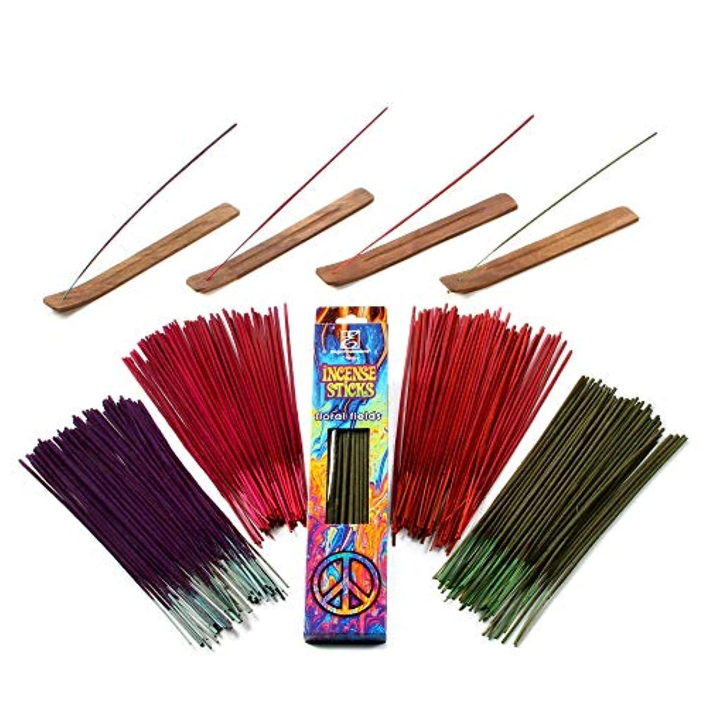 味悲しいカジュアルHosley 260パックAssorted Incense Sticksブラックチェリー、花柄フィールド、Mystical Trails、& Strawberry with 4ホルダー理想の結婚式、Spa ,レイキ、アロマセラピー...