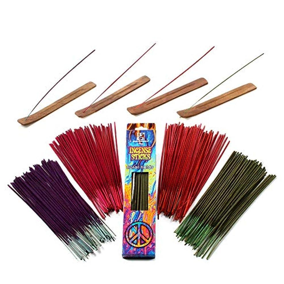 趣味眠いです深遠Hosley 260パックAssorted Incense Sticksブラックチェリー、花柄フィールド、Mystical Trails、& Strawberry with 4ホルダー理想の結婚式、Spa ,レイキ、アロマセラピー...