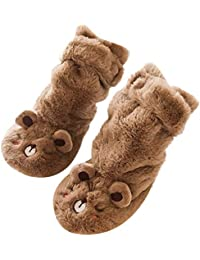 Kasumy 赤ちゃん少女少年 漫画動物厚い暖かい非スリップソックスのベルベット滑り止め布底の床の靴下の幼児の靴下三次元の靴下 耐摩耗性 柔らかい かわいい 出産祝い 0-18ヶ月