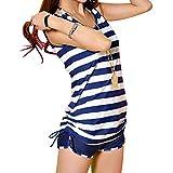 (マーシェル) Marshel マタニティ 水着 セパレート ボーダー おしゃれ かわいい ショートパンツ 産前 産後 長く使える マタニティスイミング M