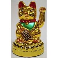 ゴールド電池式揺れるManeki Neko Happy Cat withスタンド