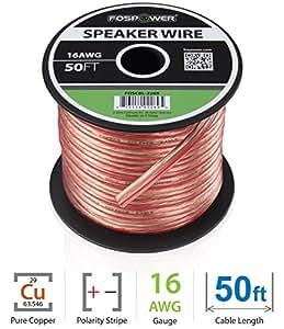 FosPower 16AWG 純銅 高純度OFC スピーカーケーブル / スピーカーワイヤー【16ゲージ | 15メートル】アンプやA / Vレシーバにオーディオスピーカーを接続