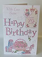 With Love Sister Happy 70th Birthday card