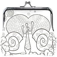 GORIRA(ゴリラ) 三つ葉柄 クローバー草 ホワイト 恋人 カタツムリ 超繊レザー&木綿 人気財布 ブランド がま口式小銭入れ ミニがま口
