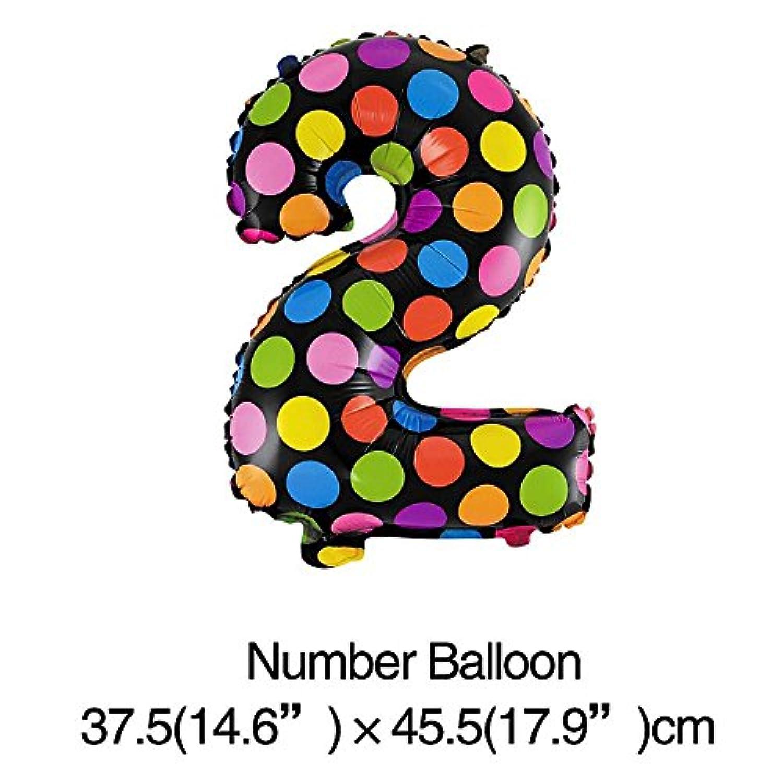 16インチ 40 cmのドット数字アルミ箔バルーン ウェディングパーティーデカ 記念日装飾 2