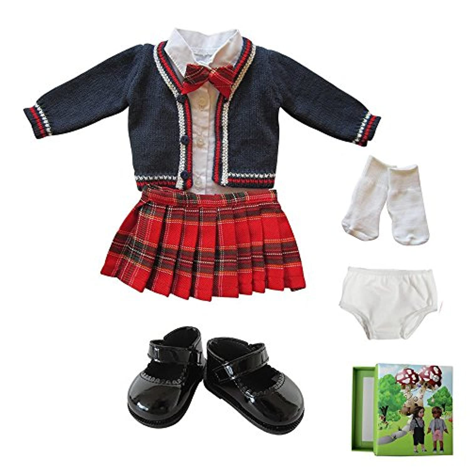6 Piece Doll Clothes School Uniform for 46cm American Girl Dolls, Sweater, Skirt, blouse with Tie, Socks ,Underwear and Black Leather Shoes