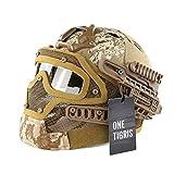 OneTigris ミリタリー風ヘルメット ファストヘルメットPJタイプ メッシュマスク&ゴーグル付属一体型 取り外し可 多機能 (AOR迷彩)