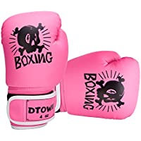 (Pink) - Dtown Kids Boxing Kickboxing Training Gloves PU Leather 3 to 10 Years