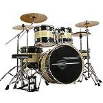 ドラム・パーカッション ドラム大人の子供の自己学習ジャズドラムプロ演奏ドラムセット5ドラム4シンバルパーティーパーティー楽器子供のおもちゃ (Color : Black+Yellow, Size : 160*120cm)