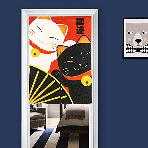 Koustyle のれん 暖簾 カフェカーテン 招き猫 白猫...