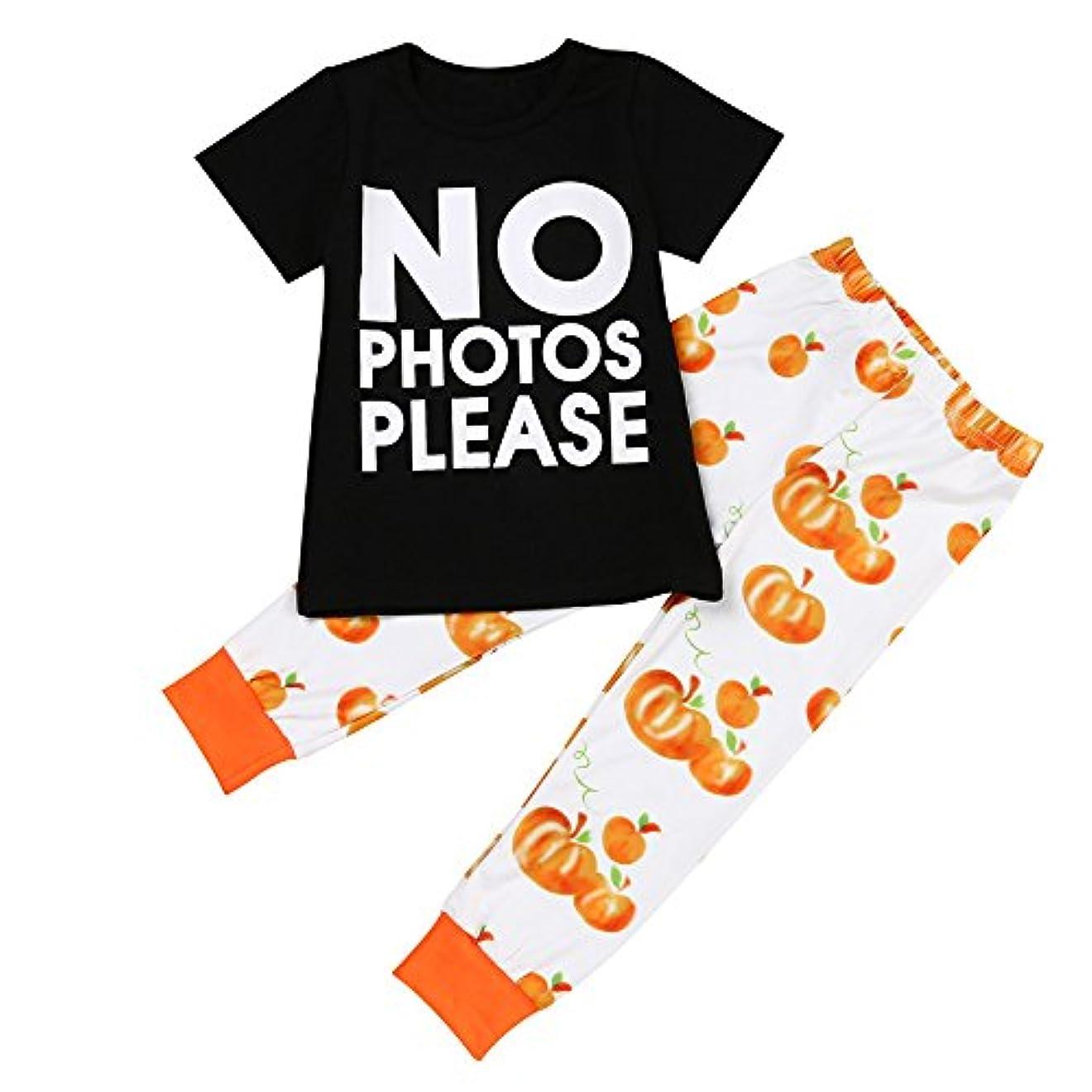 食欲グリル必要ないKarchi  人気  2017  幼児 子供 赤ちゃん 手紙Tシャツ トップス+パンパンのパンツ ハロウィーン 衣装セット (90, 黒)