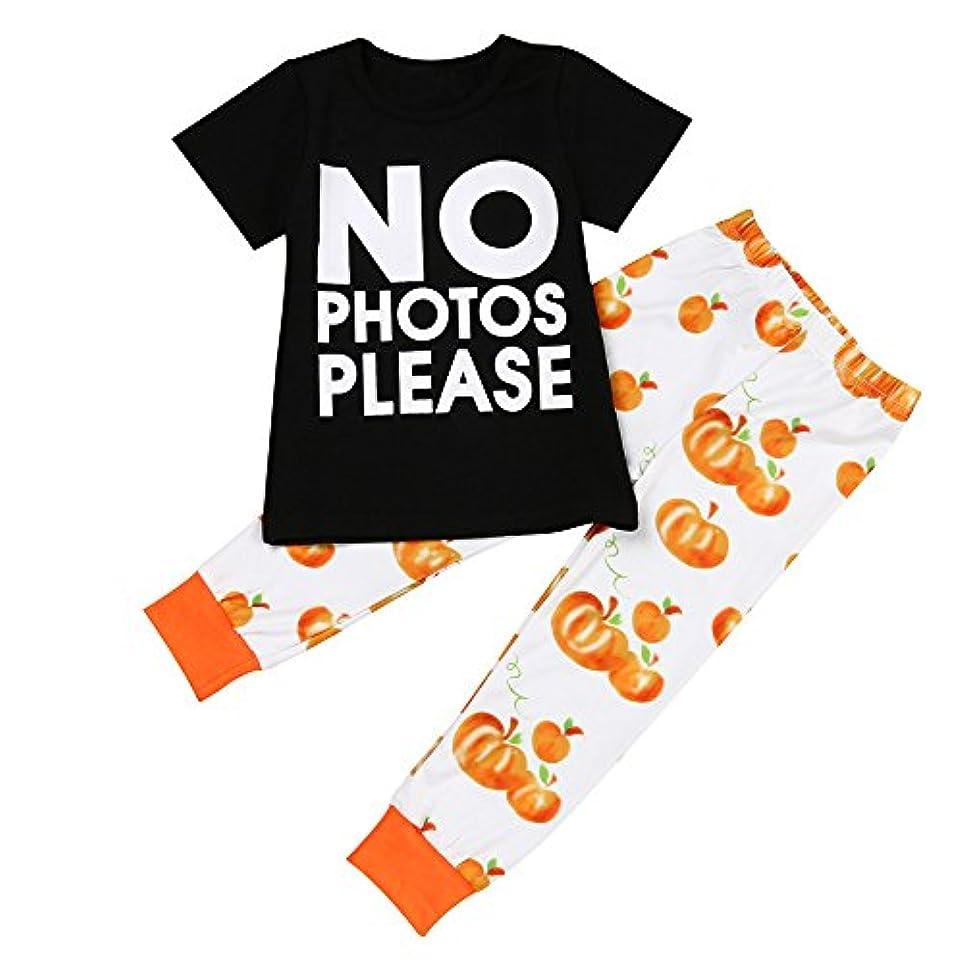 Karchi  人気  2017  幼児 子供 赤ちゃん 手紙Tシャツ トップス+パンパンのパンツ ハロウィーン 衣装セット (90, 黒)