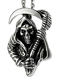Ashley Jeweller メンズ 316L ステンレススチール デススカルヘッド 死神 Santa Muerte ペンダントネックレス