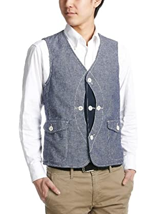 Cotton Linen Hunting Vest 3225-186-1463: Navy