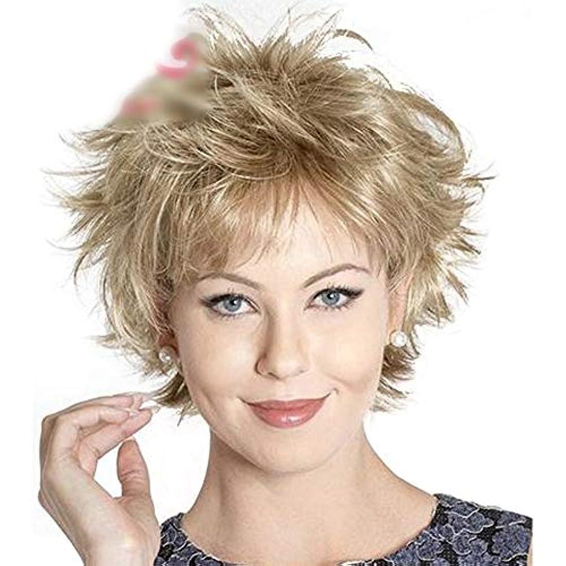 コンバーチブル確かめる余分なWASAIO ブロンドの混色の女性のショートボブウィッグ耐熱28cm (色 : Blonde)