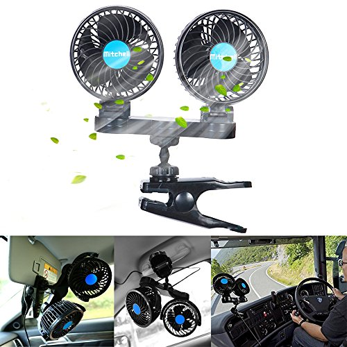 12V 4インチ 車載扇風機 双頭車載ファン クリップスタンドタイプ 無段階風量調節 車内扇風機 3...