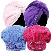 Teenitor ヘアドライタオル ヘアドライキャップ タオルキャップ 4枚 吸水タオル 髪 速乾タオル シャワーキャップ ヘアキャップ フリーサイズ