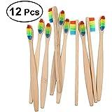 ROSENICE 竹の歯ブラシ 12個のナイロン虹色のブリストル持続可能な材料プラスチックの代わりに自然