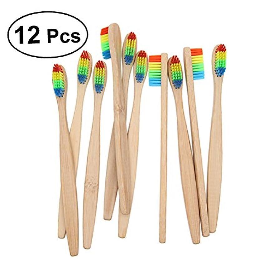 先行する訪問入口ROSENICE 竹の歯ブラシ 12個のナイロン虹色のブリストル持続可能な材料プラスチックの代わりに自然