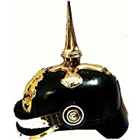 Queen Brass German Prussian Pickelhaube Spikedヘルメットincl. Leather Inlet &継手ZD標準ゴールドとブラック