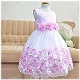 フラワーモチーフスカートメッシュドレス(kd332) ピンク 7-8(約125cm)