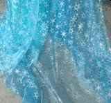 クリスマス 飾り にも 布 アナと雪の女王 エルサ 風 オーガンジー 雪の結晶 シースルー チュール 生地 オリジナルの ドレス や マント に (約150㎝×約180㎝)